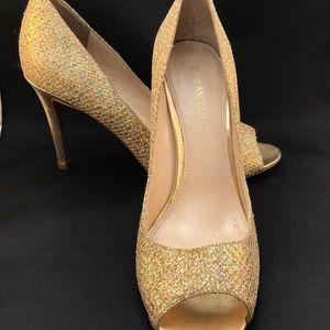 Enzo Angiolini gold sparkle open toe heels